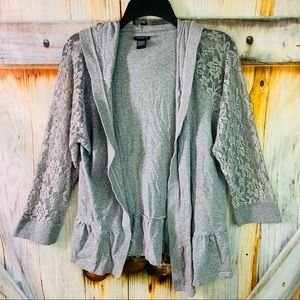 VGUC Torrid Stretchy Lacey Sleeve Hooded Open Cardigan Gray 1X